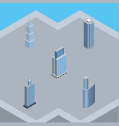 isometric building set of skyscraper urban vector image