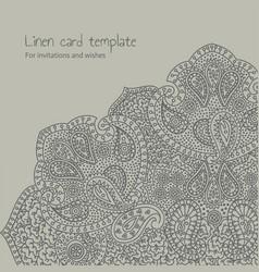 linen grey brocade card template vector image vector image