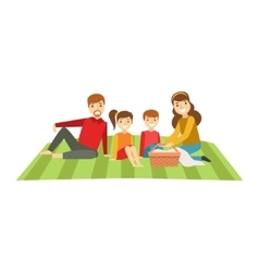 Parents and kids having picnic happy family vector