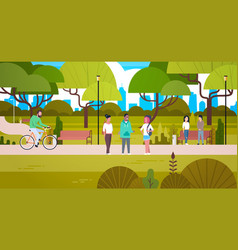 people relaxing in nature in beautiful urban park vector image