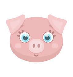 pig muzzle icon in cartoon style isolated on white vector image vector image