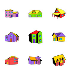 Real estate icons set cartoon style vector