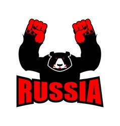 Russian bear Angry big bear and Russian flag vector image vector image