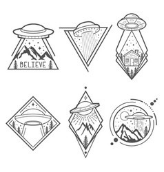 set of six ufo emblems labels badges or logos vector image vector image
