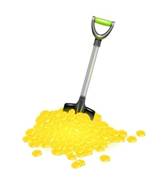 Shovel in golden pile vector image