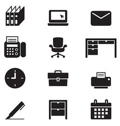 Silhouette office tools and stationery icons set vector