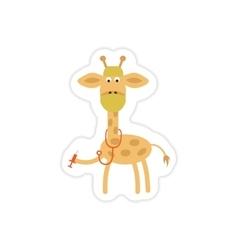 Stylish paper sticker on white background giraffe vector