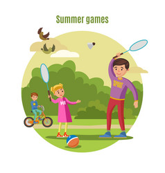 Summer active leisure concept vector