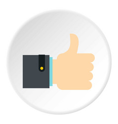 Thumb up gesture icon circle vector