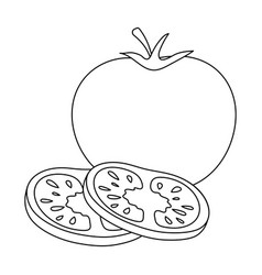 tomato with a leafburgers and ingredients single vector image