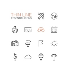 Travel Symbols - thick line design icons set vector image vector image