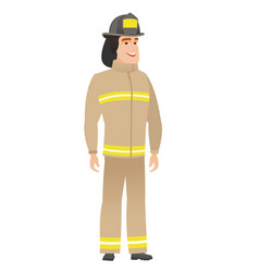 Young caucasian happy firefighter vector