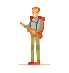 Young smiling man traveler with backpack and vector