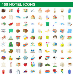 100 hotel icons set cartoon style vector image vector image