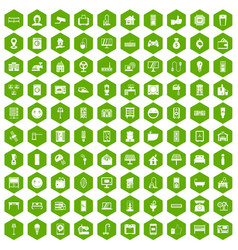100 smart house icons hexagon green vector