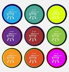 barbecue icon sign Nine multi colored round vector image