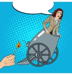 Pop art cannon business woman gets fired vector
