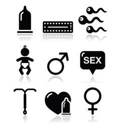 Contraception methods sex icons sex vector