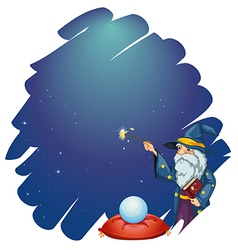 A wizard holding a magic wand and a book in front vector