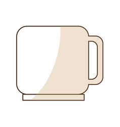 Brown silhouette shading of porcelain mug vector