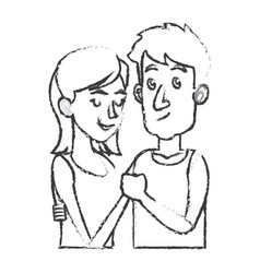 Embracing couple relationship together sketch vector