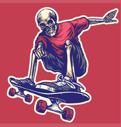 hand drawing style of skull riding skateboard vector image