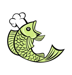 fish cook chef baker vector image