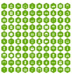 100 smart house icons hexagon green vector