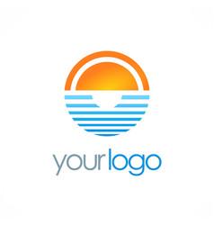Ocean horizon sun logo vector