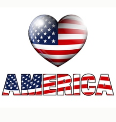 America with heart icon vector