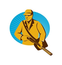 Hunter hunting with shotgun rifle retro vector