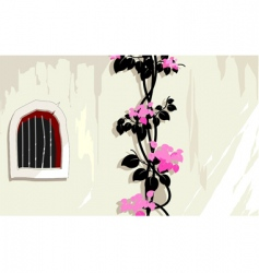 Window and flower vector