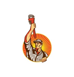 Plumber raising up monkey wrench circle retro vector