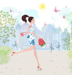 Fashion lady walking on street with shopping vector