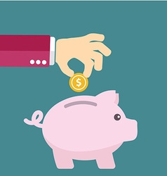 piggy bank concept in flat style - money savings vector image