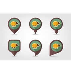 Sheep flat mapping pin icon with long shadow vector
