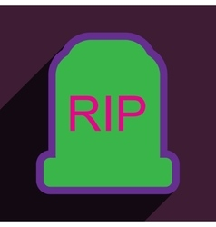 Flat with shadow icon headstone on a colored vector
