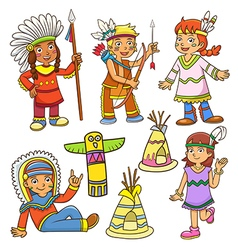 Red indian cartoon vector