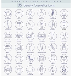 Beauty and cosmetics outline icon set vector