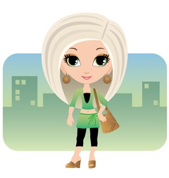 Cartoon woman in a city vector