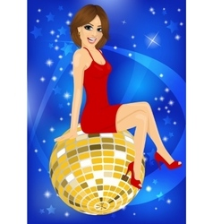 Beautiful woman in red dress sitting on disco ball vector