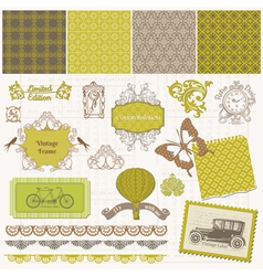 Scrapbook design elements - vintage time set vector