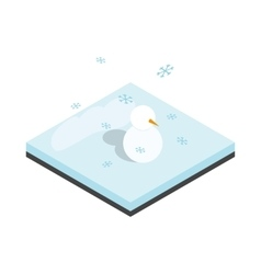 Snowman and winter landscape icon vector