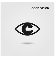 Eye icon and hand sign vector