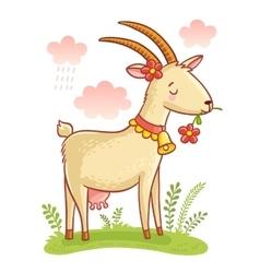 Cute farm animal goat vector