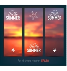 Set of banners with sunset background vector
