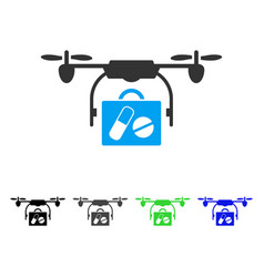 Airdrone pharmacy delivery flat icon vector