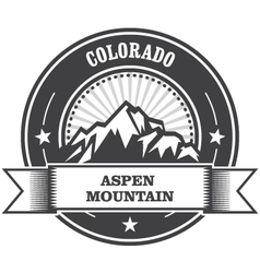 Aspen colorado - mountain peak round stamp vector