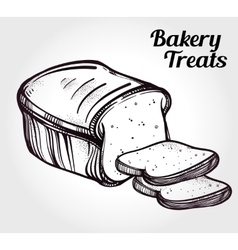 Baker shop bread icon in vintage style vector