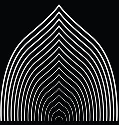 Black and white circular lines tunnel vector